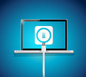 Laptop battery recharge illustration design