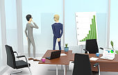 Two businessmen are standing into an office next to large window and looking outside. 3D illustration