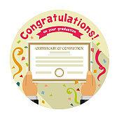 Congratulations on your graduation / circle banner illustration