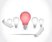 Lightbulb set of ideas. illustration