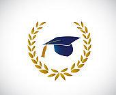 Graduation hat tassel around a laurel leaves