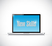 New skills sign on a computer illustration design