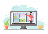 E learning web banner flat vector. Business analysis, data analytics online course. Tutor offering Internet lesson and video tutorials cartoon character. Remote university educational program
