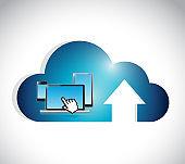 Cloud computing connection electronics concept.