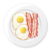 Fried eggs and bacon on a white background. Tasty breakfast. Isolated object on a white background. Cartoon style. Object for packaging, advertisements, menu. Vector illustration.