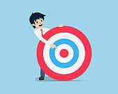 Salary Man Hold a giant target and point to the center of the target. Focus on the center