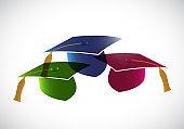 Set of graduation hats. tassel. illustration