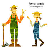 young farmer couple, watercolor painting