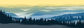 Vector illustration of mountains landscape. Sunrise in mountain forest with fog. Beautiful panoramic landscape.