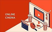 Online cinema isometric concept with computer monitor, popcorn, drink, clapperboard, 3d glasses and filmstrip. Vector illustration