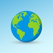 Planet Earth icon. Realistic Earth globe earth illustration with world map