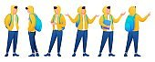 Set of young teenagers in different poses. Flat 2D Character