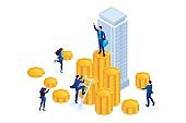 Isometric Businessmen carry money to an investment company. Concept for web design