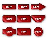Stickers for New Arrival shop product tags. Red banner promotion tag. New labels with reflection