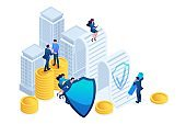 Isometric Businessmen insure their assets, investments and shares, shield. Concept for web design