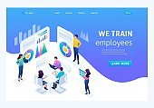 Isometric staff training, increasing the knowledge of the organization's employees. Landing page concepts and web design