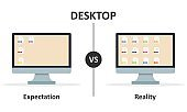 Expectation vs Reality. Computer desktop. Empty or filled monitor. Document files on screen. Vector