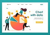 Chart with data financial statements, credit debt. Flat 2D character. Landing page concepts and web design