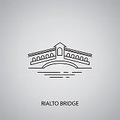 Rialto bridge icon on grey background. Italy, Venice. Line icon