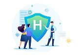 Protect yourself from the virus, health insurance. Keeps a social distance and wears masks. Flat 2D. Vector illustration for web design