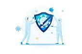 Medical staff in protective suits to protect against the virus. Keeps a social distance. Flat 2D. Vector illustration web design