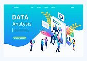 Isometric concept data collection by workers, the process of analyzing data on the tablet. Landing page concepts and web design