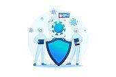 Virus protection, quarantine, social distance, hygiene. Flat 2D. Vector illustration web design