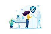 Communication with loved ones during treatment of a viral infection. Flat 2D. Vector illustration web design