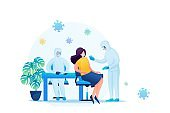 Vaccination of patients during an epidemic. Flat 2D. Vector illustration web design