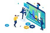 Young people collect information for data analysis. 3D isometric. Concept for web design