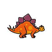 Stegosaurus cartoon isolated vector illustration