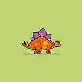 Stegosaurus cartoon vector illustration