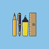 Stationery variety vector illustration