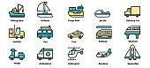 Transportation icons vector illustration , Fishing Boat, Forklift, Train, Spaceship