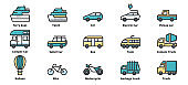 Transportation icons vector illustration, Car,  Motorcycle, Train,  Ferry boat,