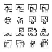 Business Training Icons , Symbol Perfect Design Simple Set For Using In Web Site Infographics Logo Report , Line Icon Vector Illustration