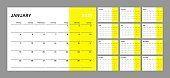 Wall calendar for 2021 year in clean minimal style. Corporate design planner template. Week Starts on Monday.