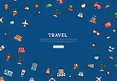 Travel Banner With Color Line Icons on Blue Background. Vector illustration