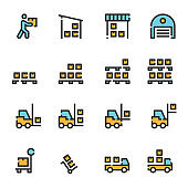 warehouse  icon transport line color vector illustration