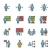 People Icons Line Color Work Group Team Vector , Online Education