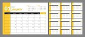 Wall calendar template for 2021 year. Planner diary in a minimalist style. Week Starts on Sunday. Monthly calendar.