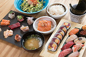 Japanese food variety set on wooden table