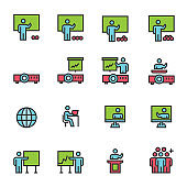 Business People Team Training Line Color  Icons  Vector illustration