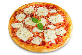 Pizza Margarita with tomatoes, tomato sauce and Mozzarella cheese on a white isolated background