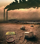 Contaminated water in post-industrial area, world in 2050 year