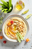 Tasty hummus as healthy and quick snack