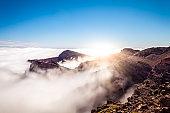 mountain peak with sunshine