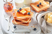 Homemade french toast as simple and sweet snack