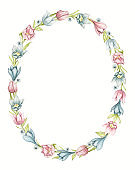Watercolor oval frame with spring blue and pink flowers