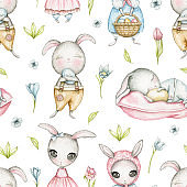 Watercolor seamless pattern with Easter bunnies and flowers